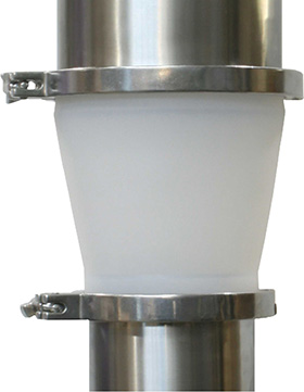 The Conical Flexiduct is ideal for transfering powders when the outlet and inlet are of different sizes
